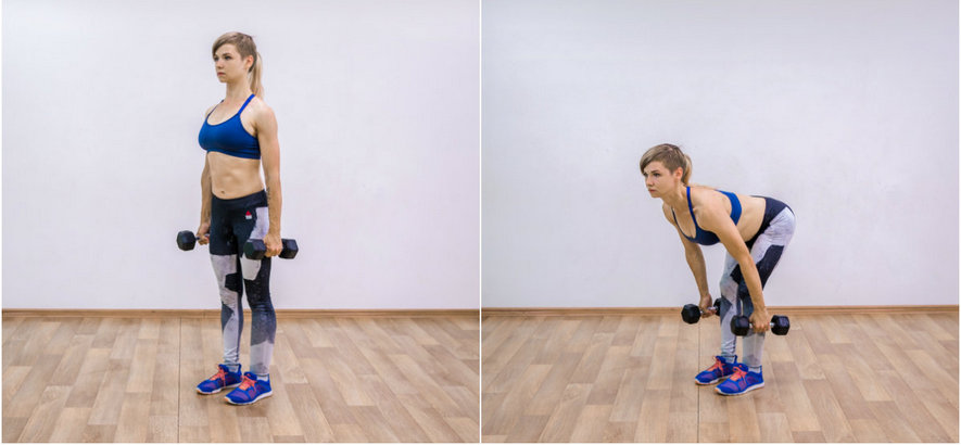 Румынская тяга с гантелями для девушек