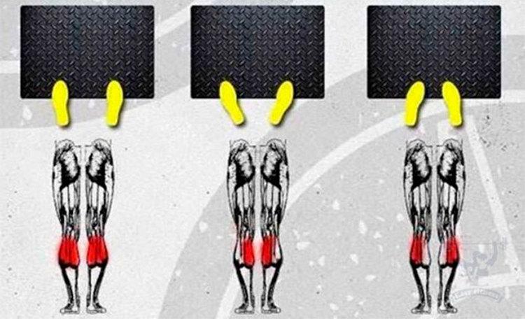 Жим носками с разной постановкой ног