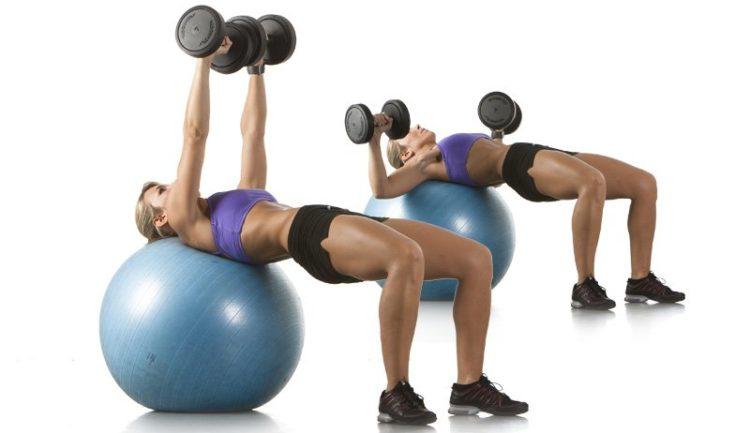 Комплекс упражнений на мяче с гантелями
