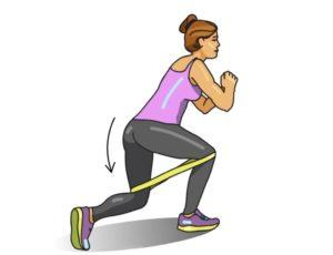 Выпады назад с фитнес резинкой