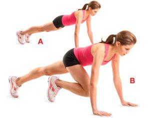 Подтягивание ног к корпусу в планке