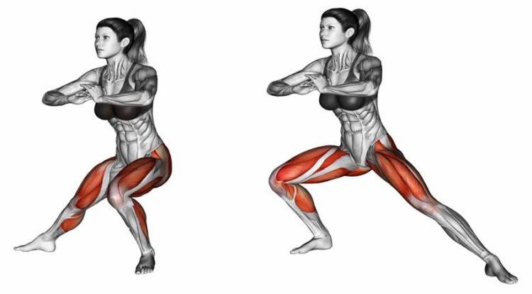 Какие мышцы задействованы в боковых выпадах