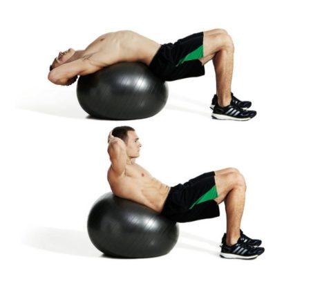 Упражнения на пресс на мяче